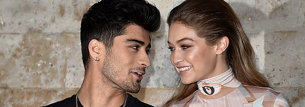 Zayn and Gigi at a black tie event looking longingly into each other's eyes