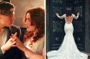 Jack and Rose hold hands on the left while a woman in a wedding dress faces the back on the right