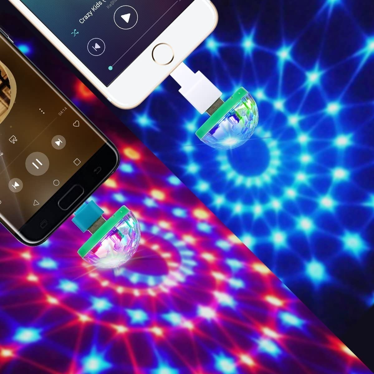 USB disco balls plugged into two phones