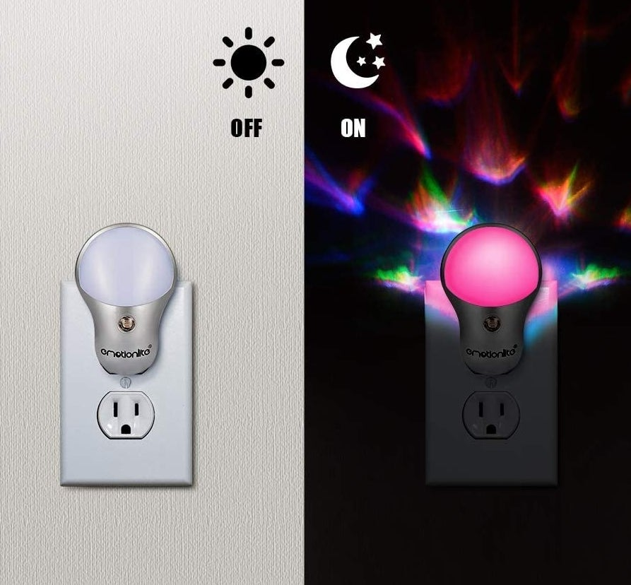 The plug-in nightlight turned off and the plug-in nightlight creating a colourful light show