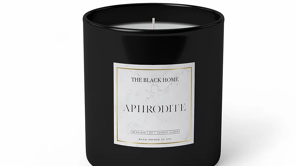 black glass candle that says aphrodite