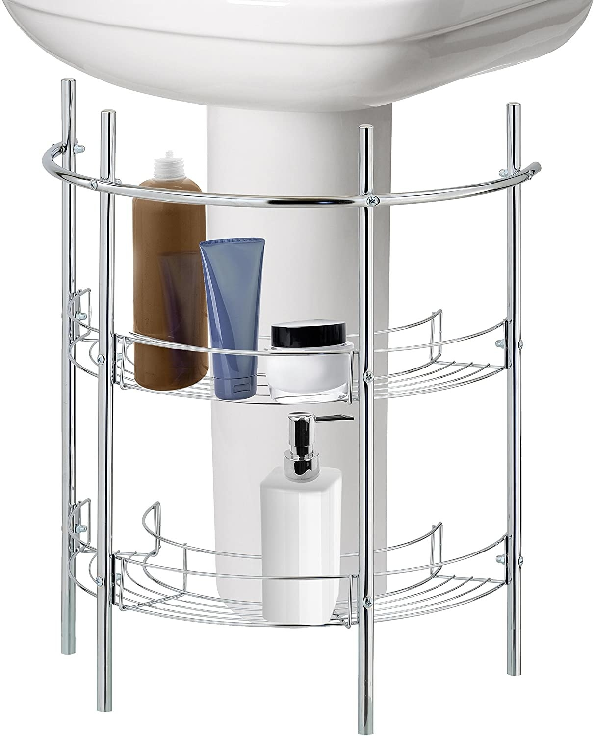 A two tiered metal storage rack in a curved shape that fits right underneath a bathroom sink