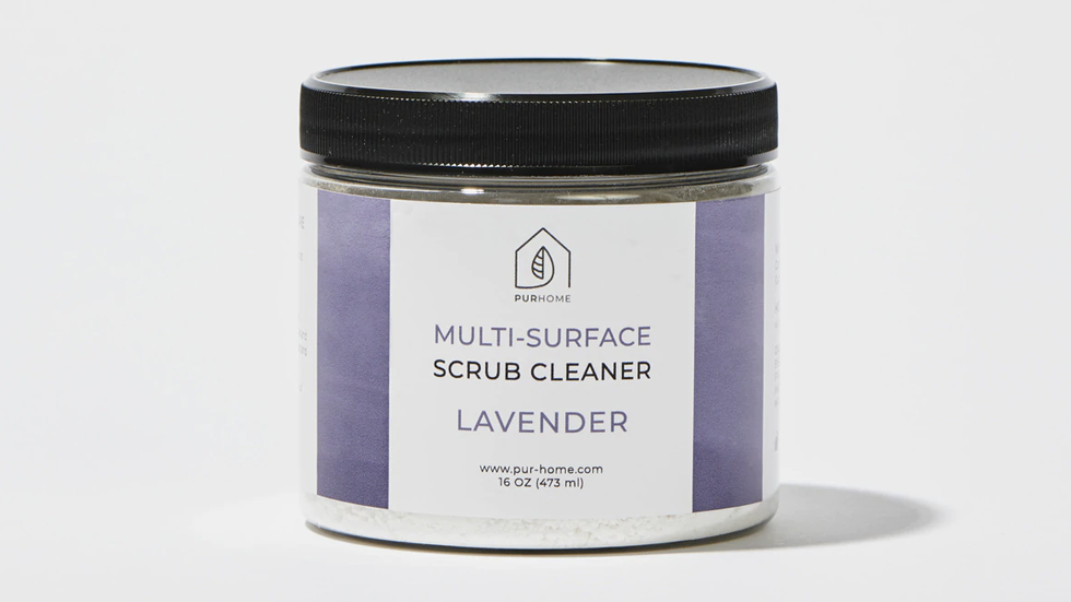 jar of scrub cleaner in lavender