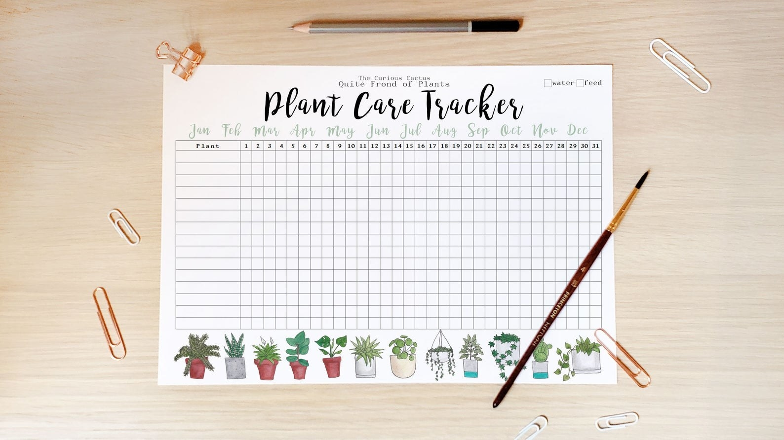 The tracker with spaces for plants and for marking whether you've watered them weekly for a year