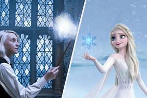 Luna Lovegood casting her bunny patronus next to Elsa doing ice magic