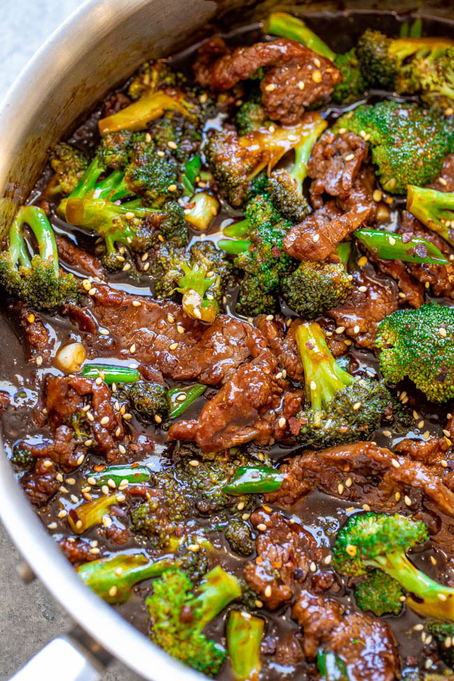 Chinese-inspired beef and broccoli stir-fry in a bowl.