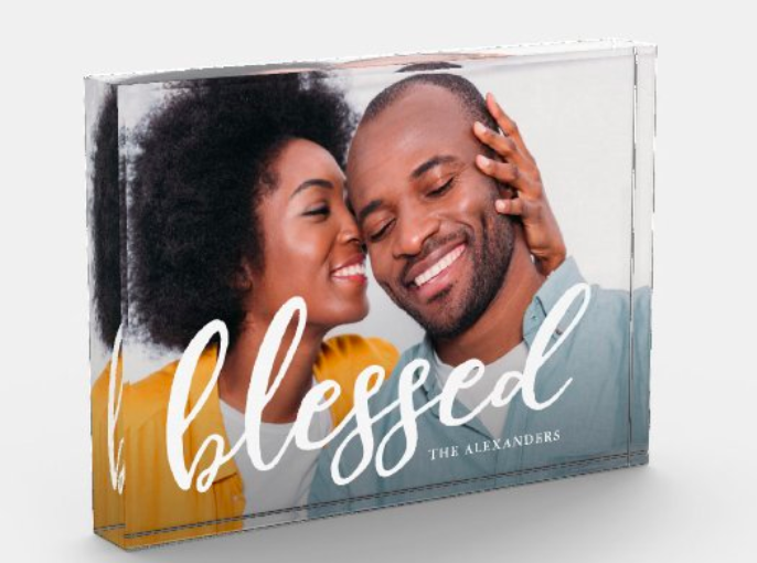"the photo block with a couple on it and the word ""blessed"""