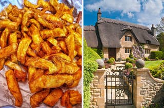 orange chips and an English cottage