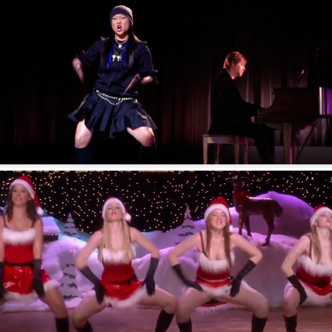 Tina slapping her thighs and the Plastics from Mean Girls slapping their thighs