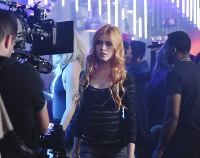 "Kat McNamara filming a scene from Season 1 of ""Shadowhunters"""