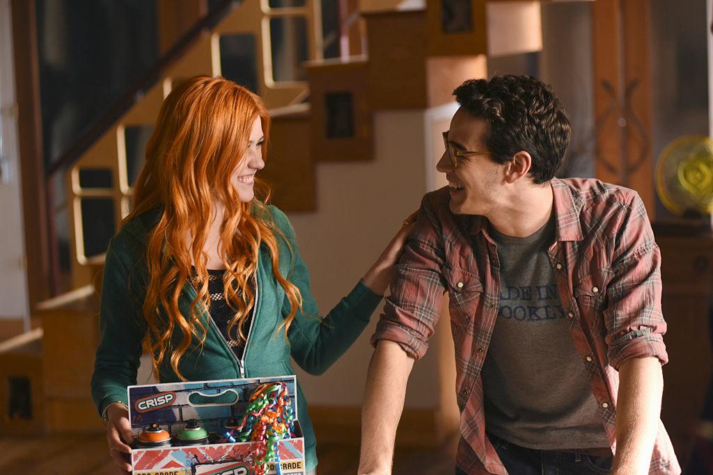 "Kat McNamara and Alberto Rosende laughing while on set of ""Shadowhunters"""