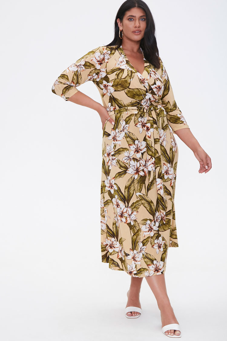 Mid-length dress with v-neck wrap style, three-quarter sleeves, in tan with green, white, and brown flowers all over it
