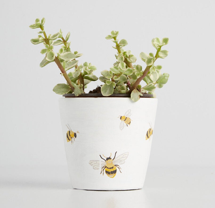 A white planter with illustrations of yellow bees all over it