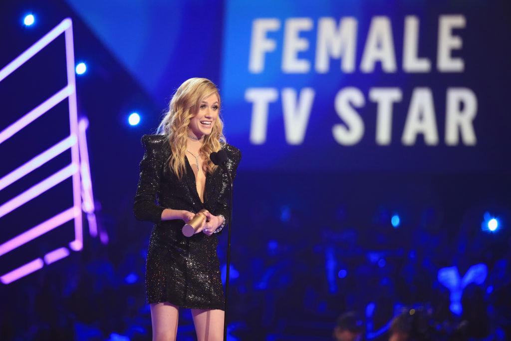 "Kat McNamara accepting her award for ""Female TV Star"" at the People's Choice Awards"