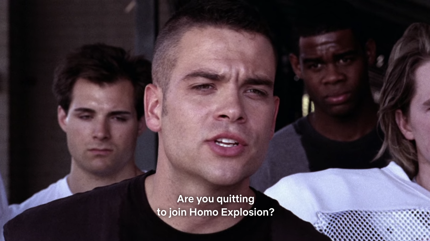 Puck asking Finn if he's quitting football to join Homo Explosion