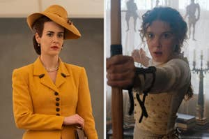 A side-by-side photo of a still from Ratched and Enola Holmes