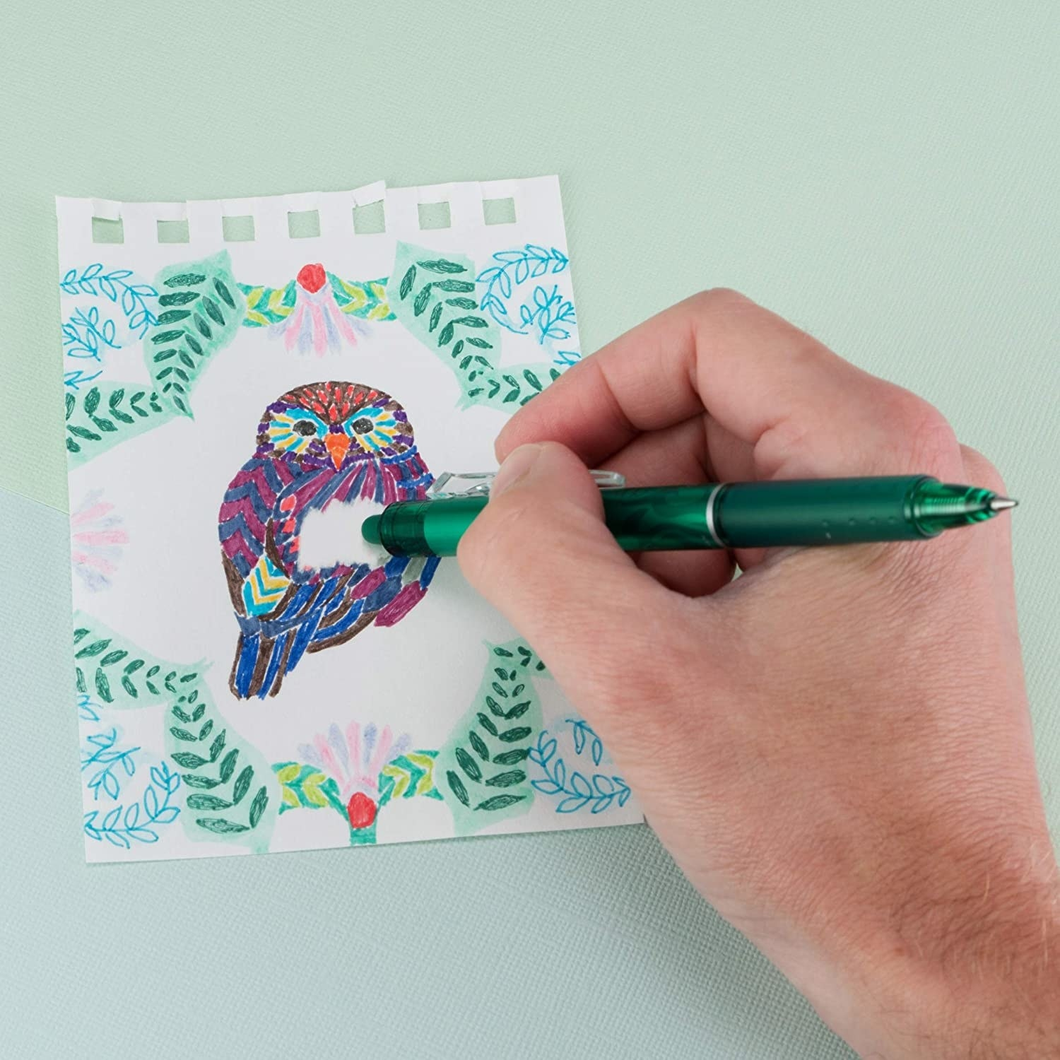 A person erasing part of an owl doodle