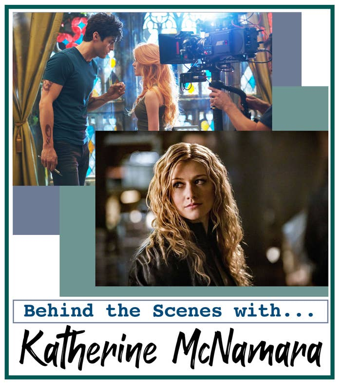 """A header reading """"behind the scene with Katherine McNamara"""" and photos of Kat as Mia from """"Arrow"""" and behind the scenes of """"Shadowhunters"""" with Matthew Daddario"""