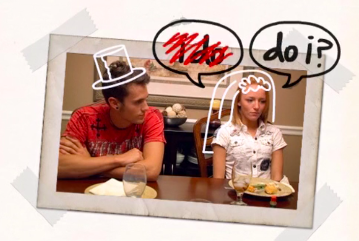 """photo of Maci and Ryan captioned """"I do"""" crossed out and replaced with """"do I?"""" over Maci's head"""