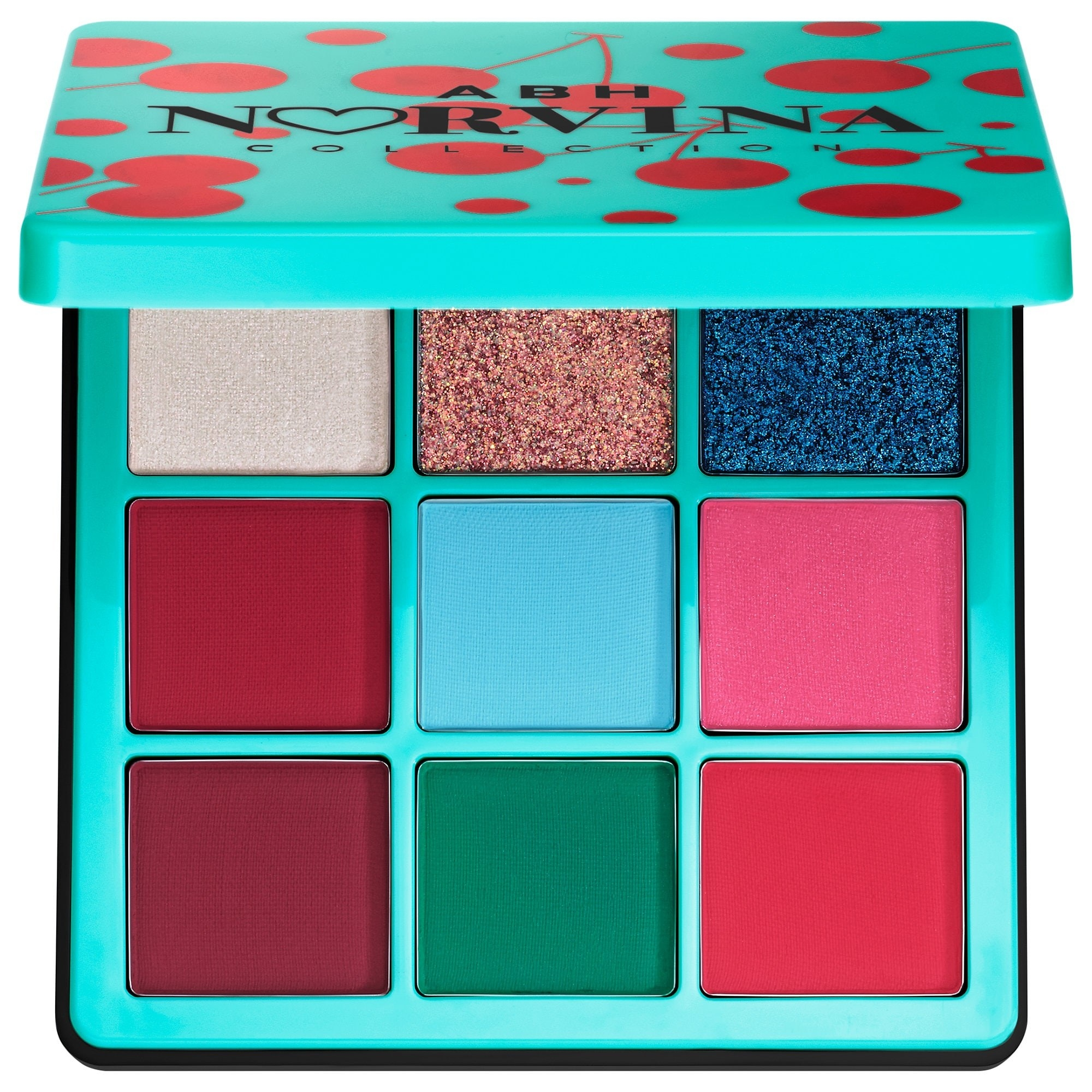 An opened teal square compact with nine color palettes