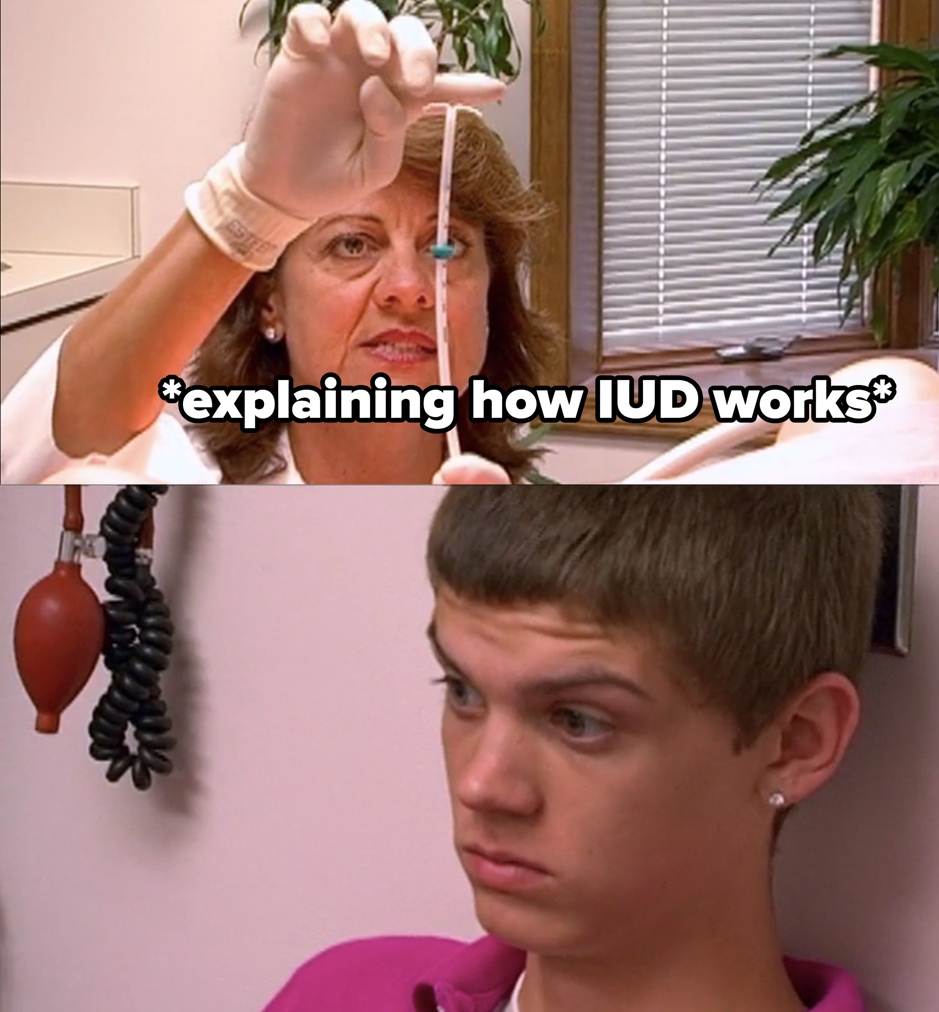 Tyler makes a face as the doctor explains the IUD