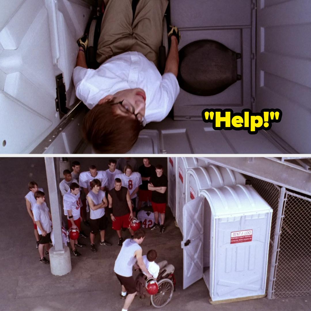 Finn helping Artie out of a porta potty the jocks locked him in.