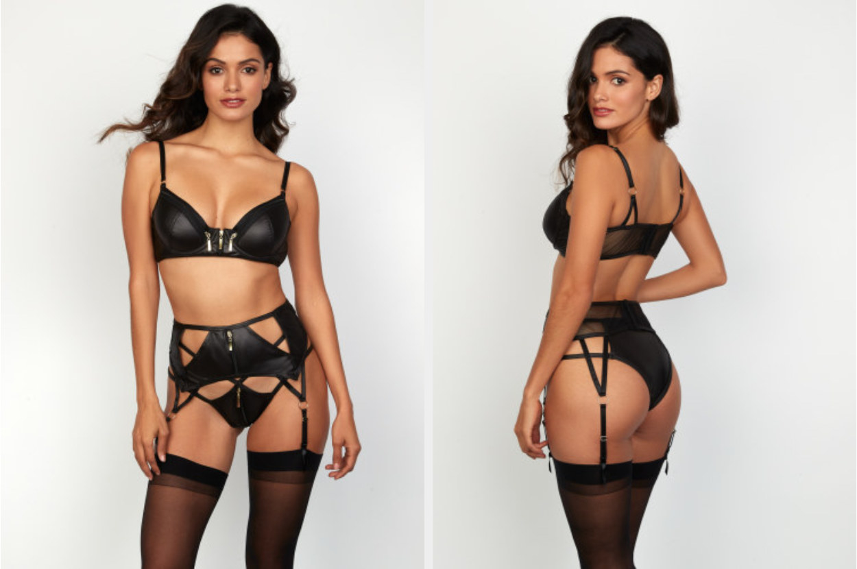 Model wearing black three-piece lingerie set