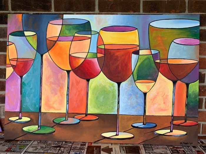 Painting of wine glasses