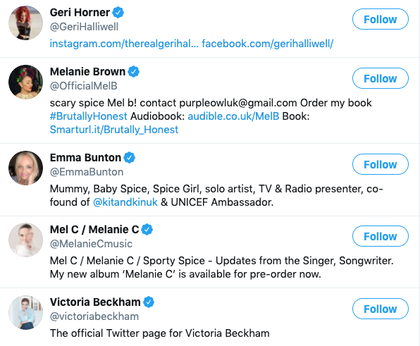 A list of the Spice Girls' Twitter accounts.