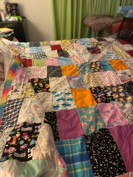 Quilt made of different fabric squares