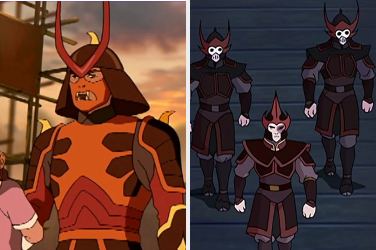 A brightly colored firebender with strange animal teeth coming out of his helmet, next to the ones in the aired show — dark with a helmet that resembles a skeleton.