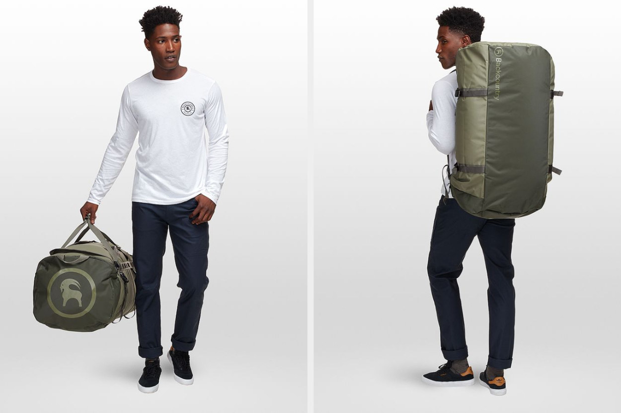 A model holding a green duffle bag and then carrying the bag on their back