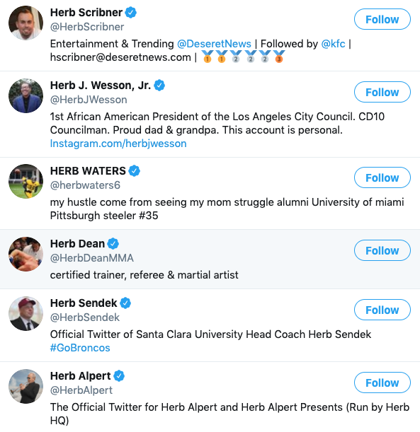 A list of six Twitter account whose names are all Herb.