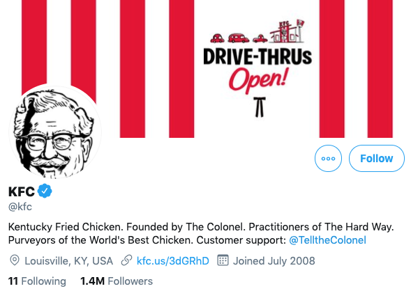 A screenshot of KFC's Twitter page, showing that they follow 11 people.