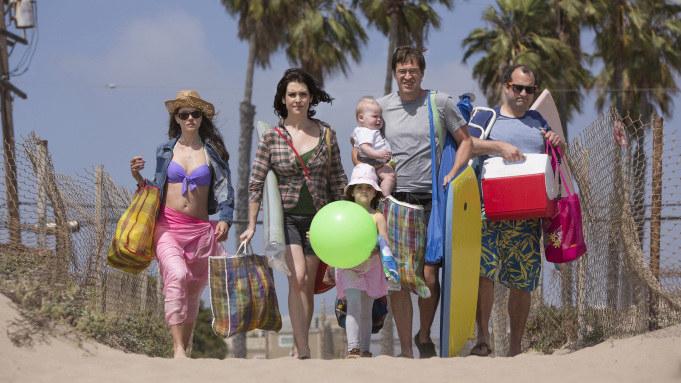"Amanda Peet, Melanie Lynskey, Mark Duplass, and Steve Zissis in ""Togetherness"""