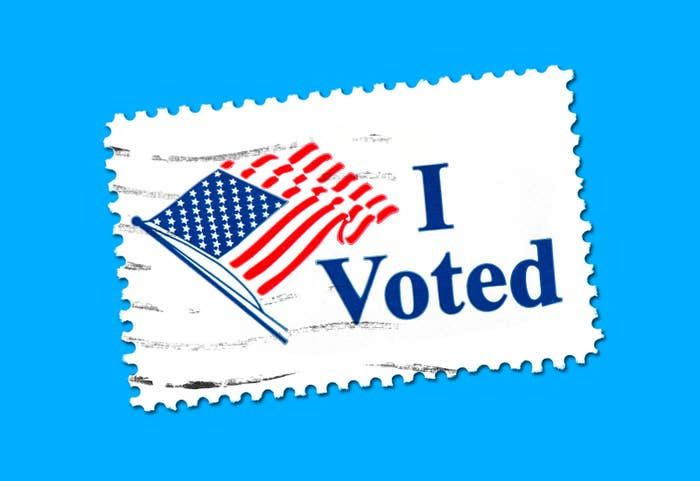 "A stamp that reads ""I Voted"""