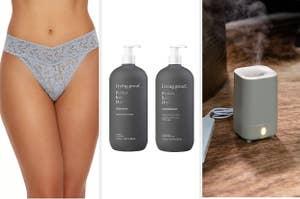 A lace thong / a shampoo set / a diffuser
