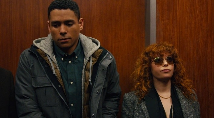 Russian Doll still: Alan and Nadia stand side by side in an elevator