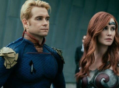 The Boys still: superheroes The Homelander and Queen Maeve stand together