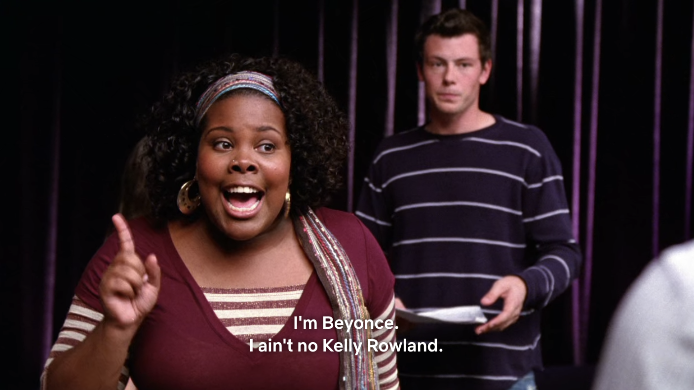 Mercedes saying that she's Beyonce and not Kelly Rowland.