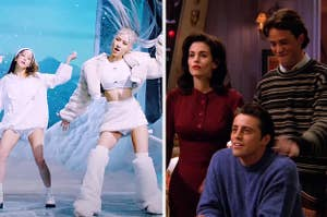 An image of Blackpink from their How You Like That music video next to an image of Joey Monica and Chandler from Friends