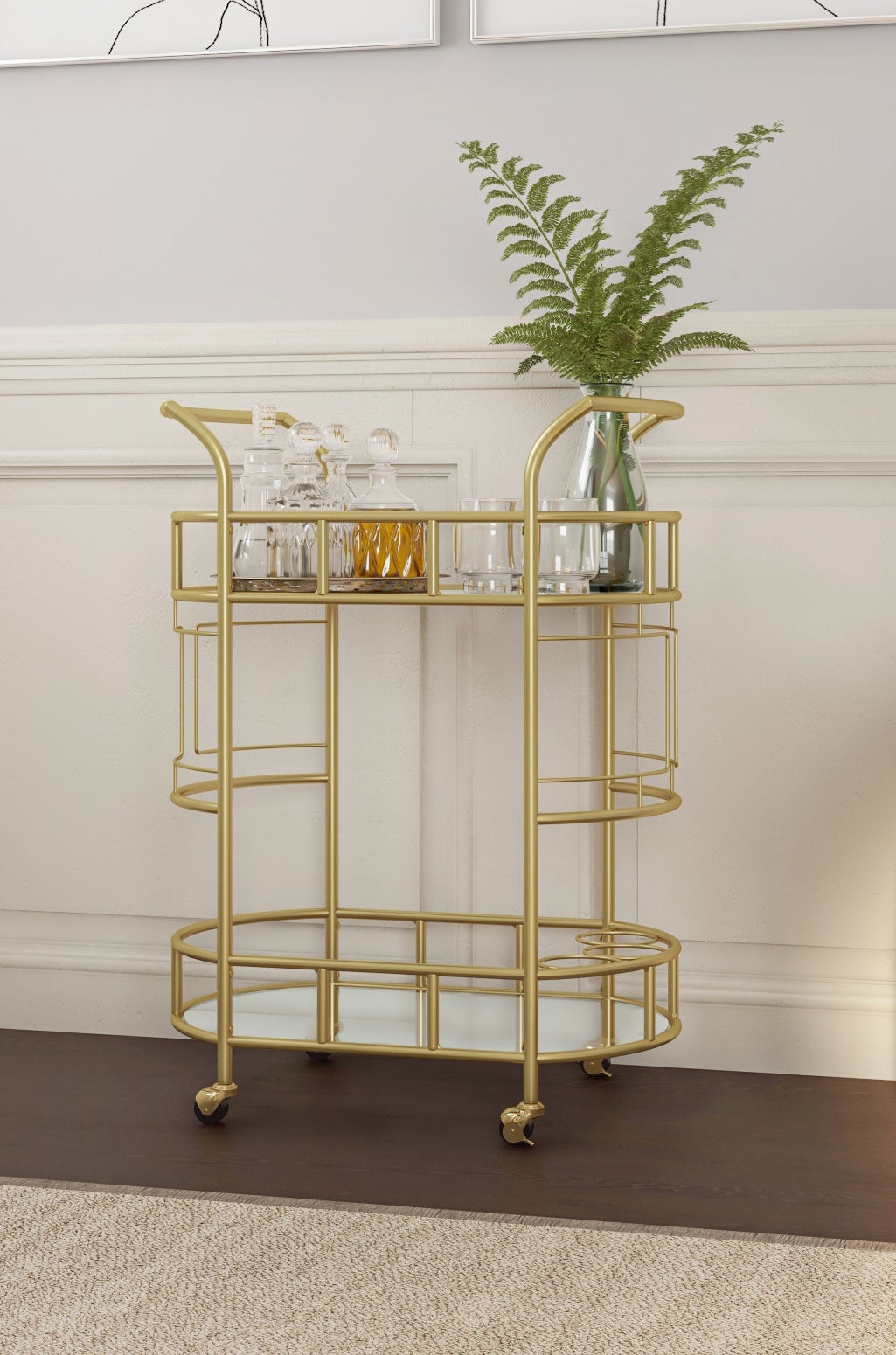gold two tier bar cart