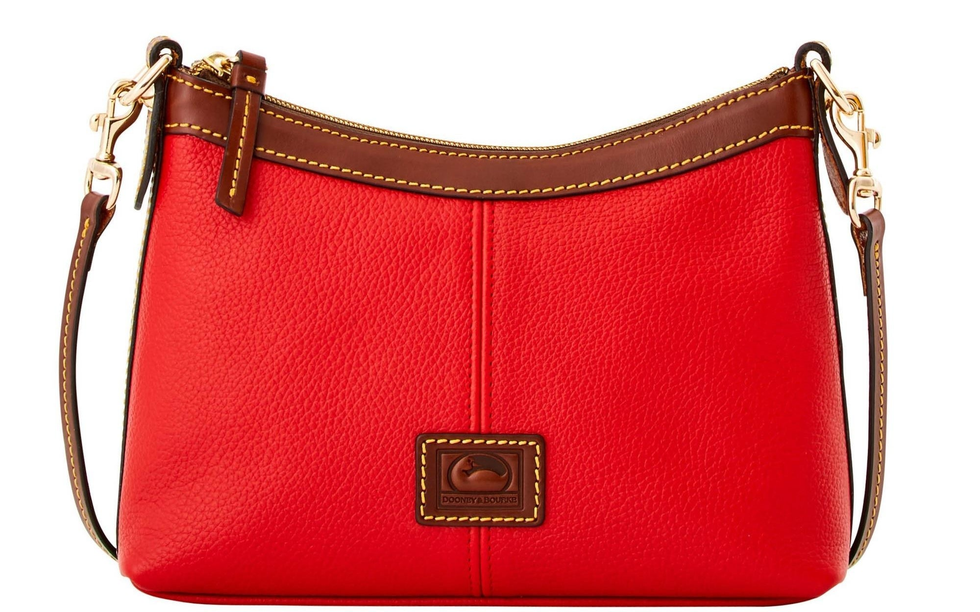 A bright red leather crossbody pouch