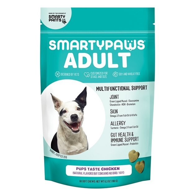 A teal-colored package of Smartpaws adult dog supplements