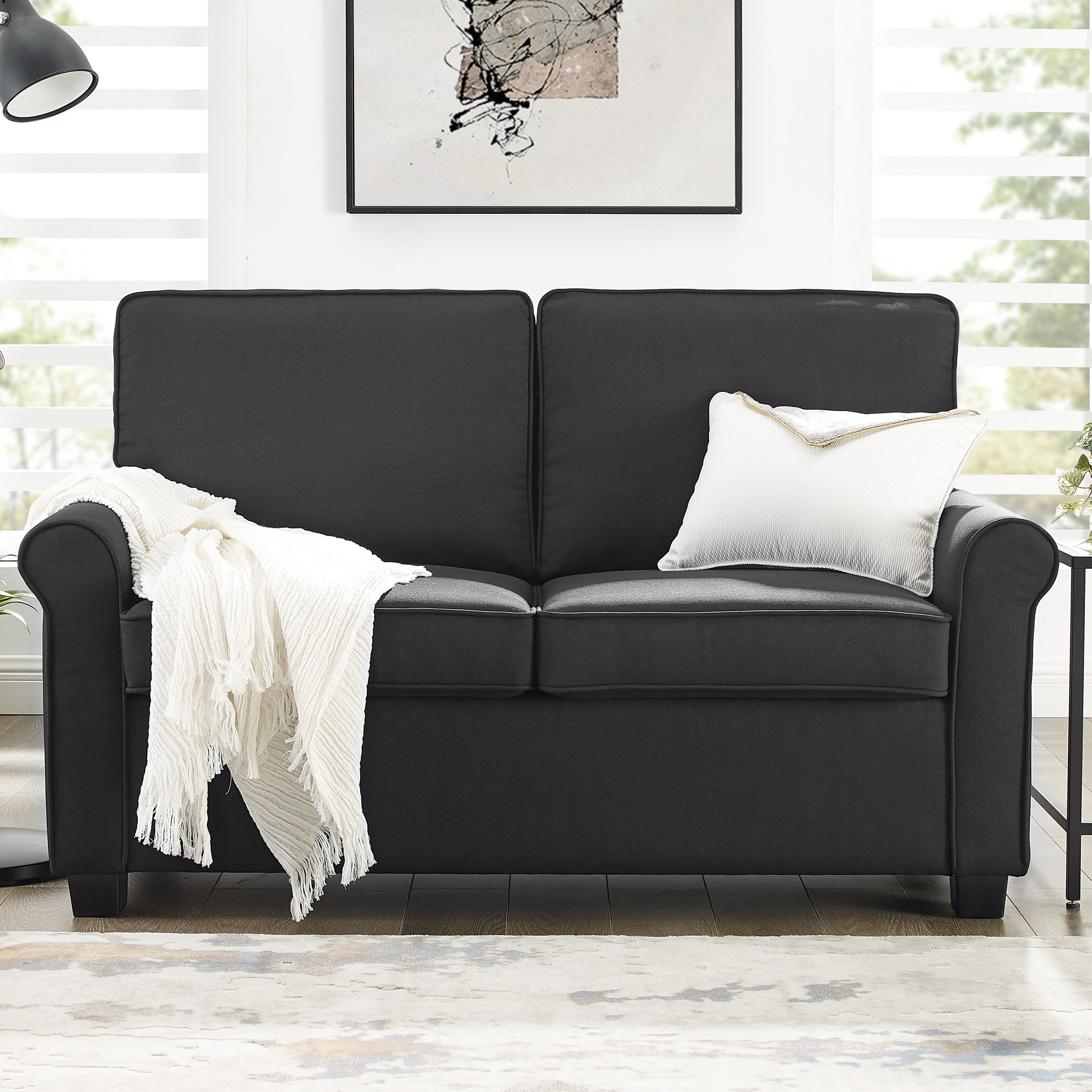 black loveseat sleeper couch
