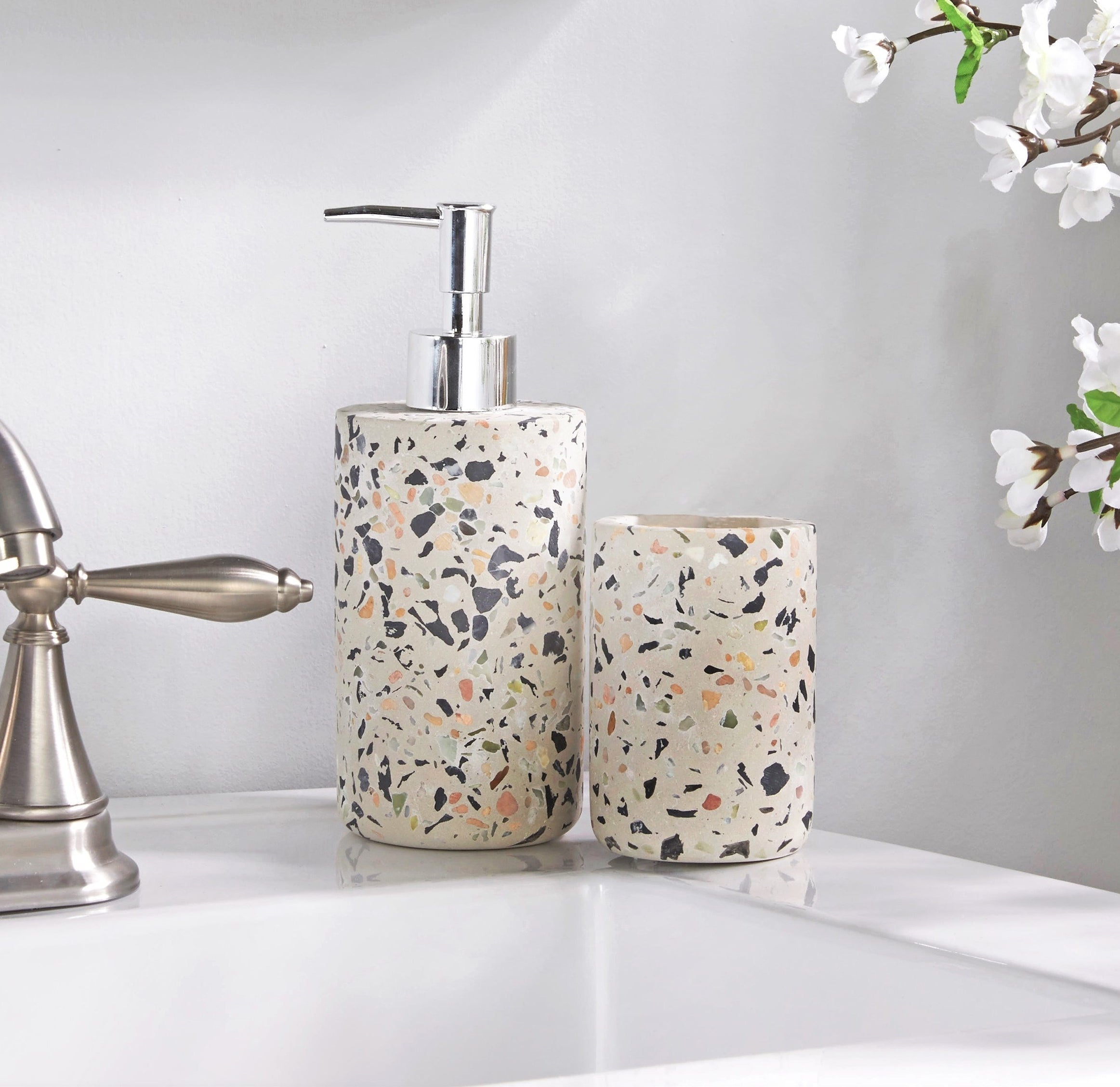 better homes and gardens soap dispenser and toothbrush holder