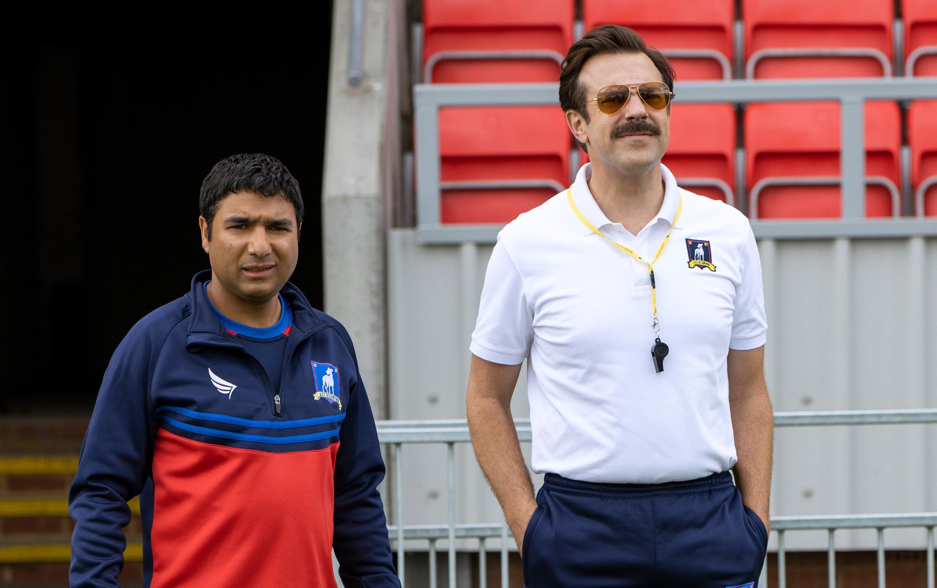 "Nick Mohammed and Jason Sudeikis in ""Ted Lasso"""