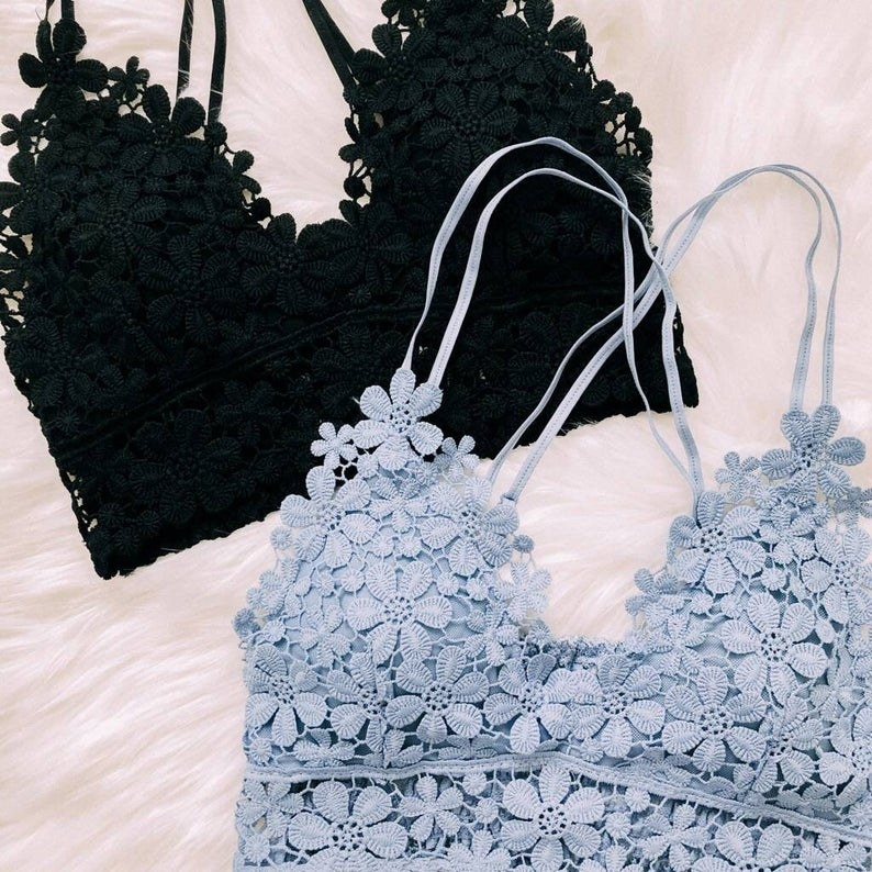 The floral lace bralettes in light blue and black
