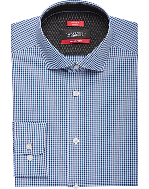 A folded teal and gray check slim fit shirt