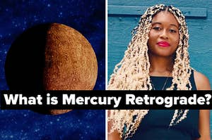 """A photo of Mercury and astrologer Adama Sesay that says """"What is Mercury Retrograde?"""""""